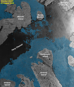 Annotated image of the Northwest Passage
