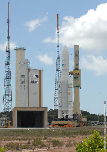 Ariane 5 is moved to the launch zone ahead of the V185 launch