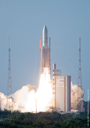 Ariane 5 launches from Europe's Spaceport placing Superbird-7 and AMC-21 in orbit