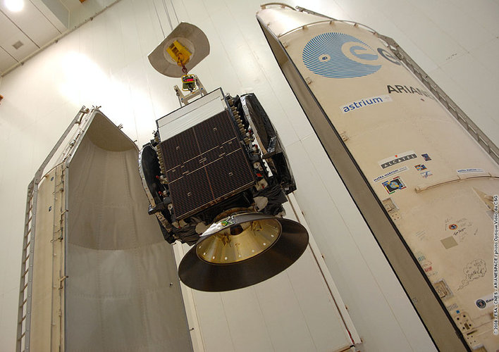 The AMC-21 satellite is prepared for launch with Ariane 5 flight V185