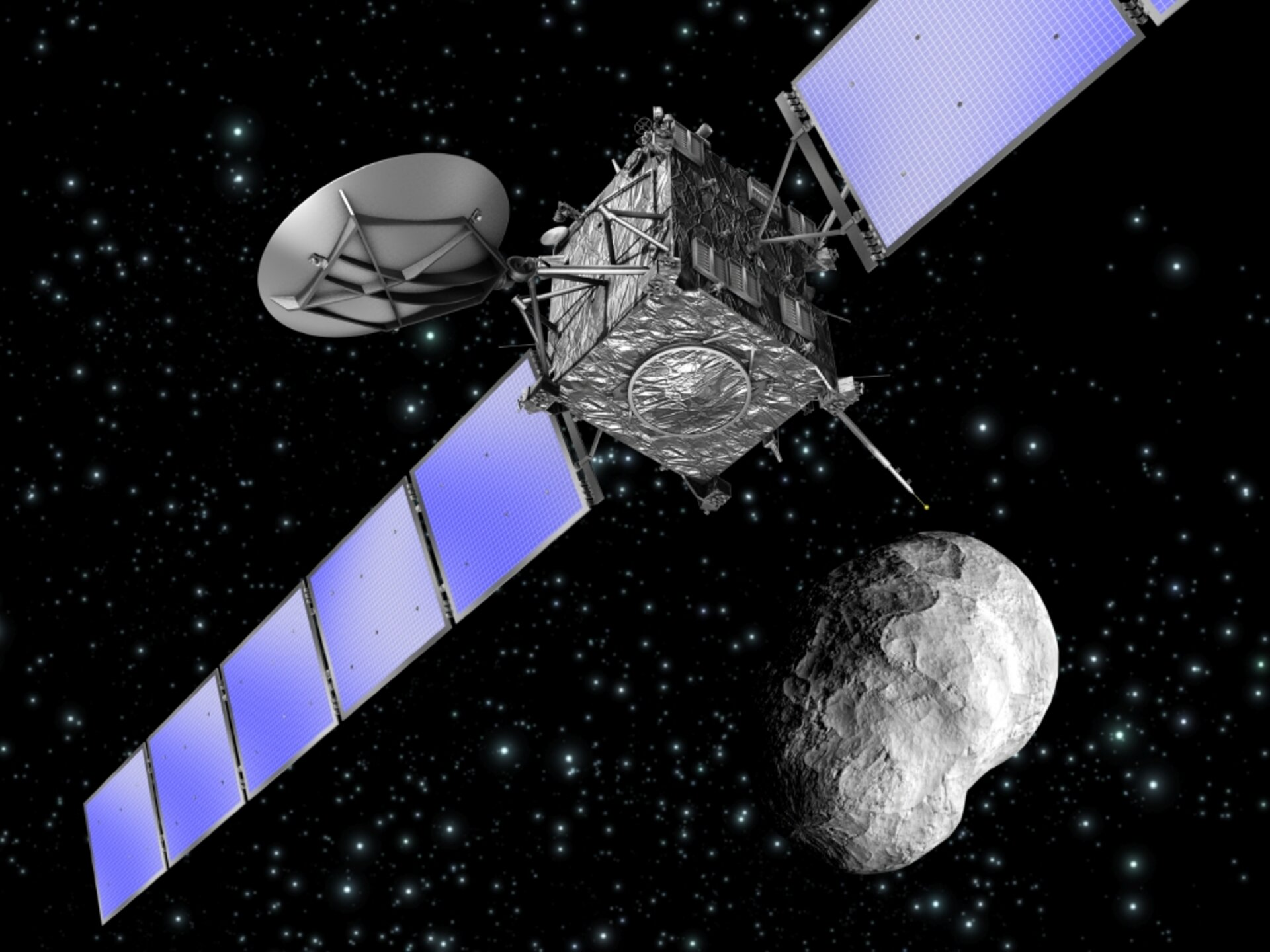 Artist's impression of Rosetta as it flies by asteroid Steins