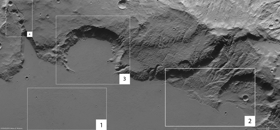 Mangala Fossae, annotated nadir view