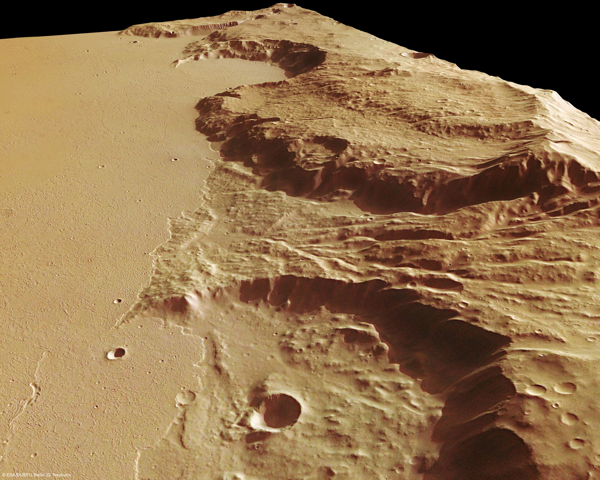 Perspective view of Mangala Fossae