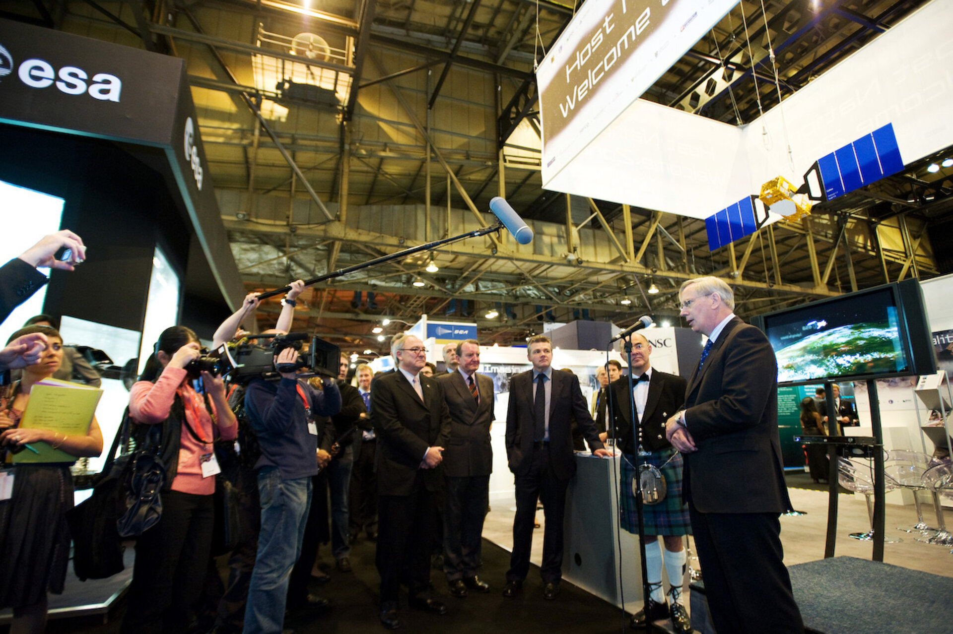 Prince Richard, Duke of Gloucester, addresses the media at the ESA stand during the inauguration of the exhibition at IAC 2008