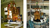 Fully integrated Chandrayaan-1 spacecraft (left) and loading it