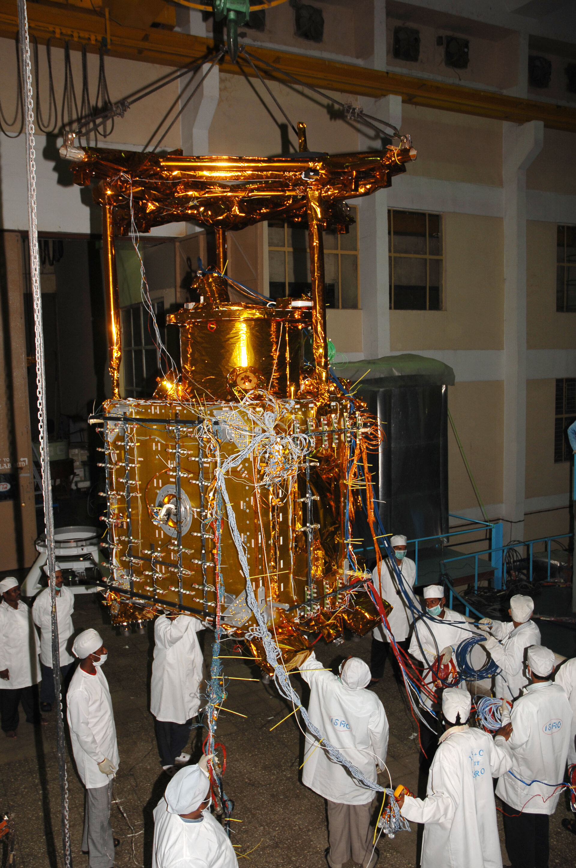 Chandrayaan-1 is moved to the thermovacuum chamber