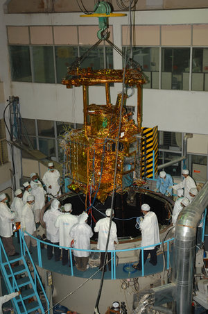 Chandrayaan-1 loaded to the thermo-vacuum chamber