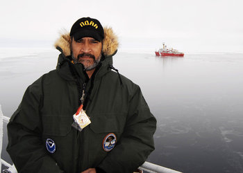 Dr Clemente-Colón aboard the icebreaker Healy