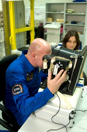 ESA astronaut Andre Kuipers during training for the Neurospat experiment at EAC