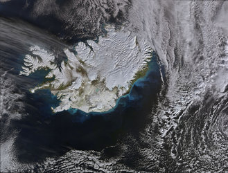 Iceland covered in snow