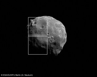 Image of Phobos with footprints of the Super Resolution Channel