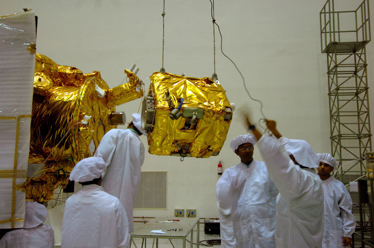 Moon Impact Probe integrated with Chandrayaan-1 spacecraft