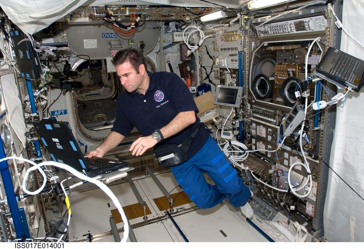 NASA astronaut Greg Chamitoff in Columbus laboratory