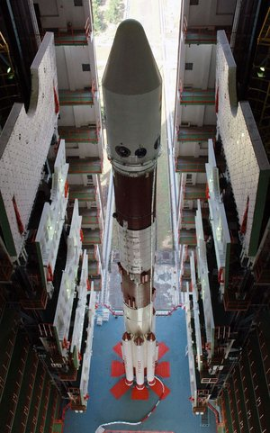 PSLV-C11 launcher at Vehicle Assembly Building