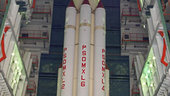 Fully Assembled First Stage surrounded by strap-ons of PSLV-C11