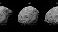 Three views of Phobos