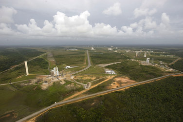 Aerial view of various launch complexes at Europe's Spaceport