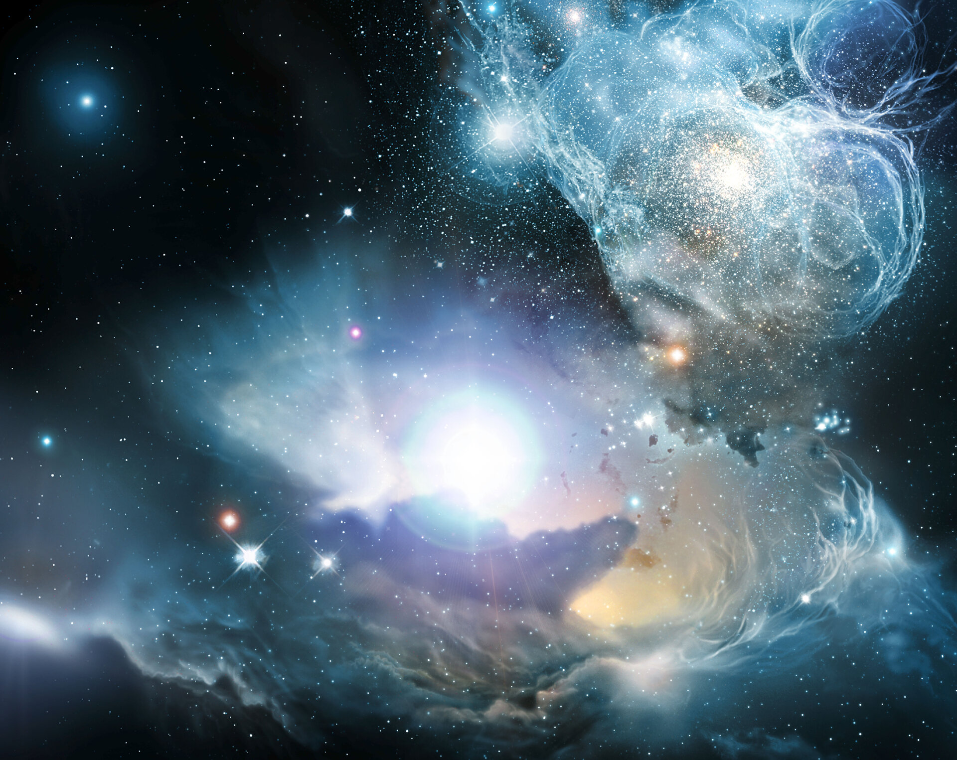Artist impression of a quasar located in a primeval galaxy, around 900 million years after the Big Bang