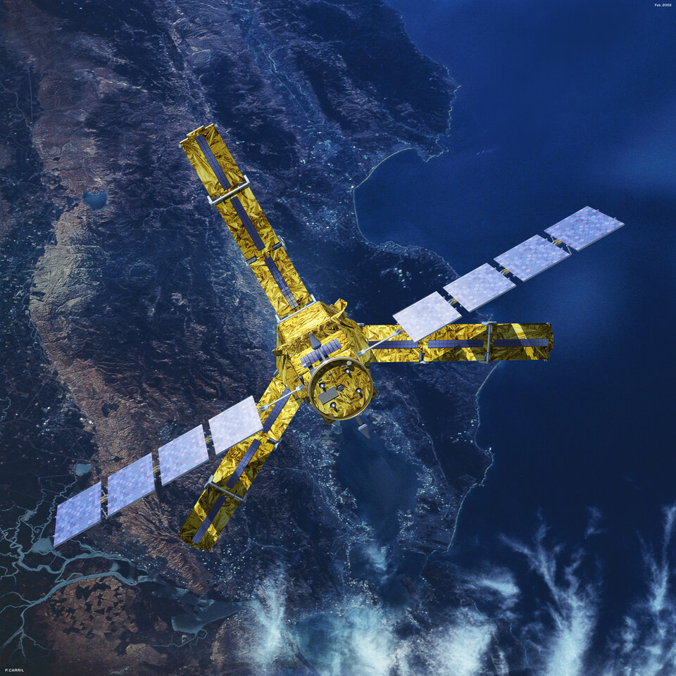 Artist impression of SMOS, carrying a payload developed under GSTP