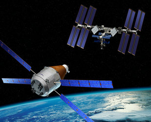 Artist impression of the Advanced Reentry Vehicle, derived from ATV, providing cargo return capabilities
