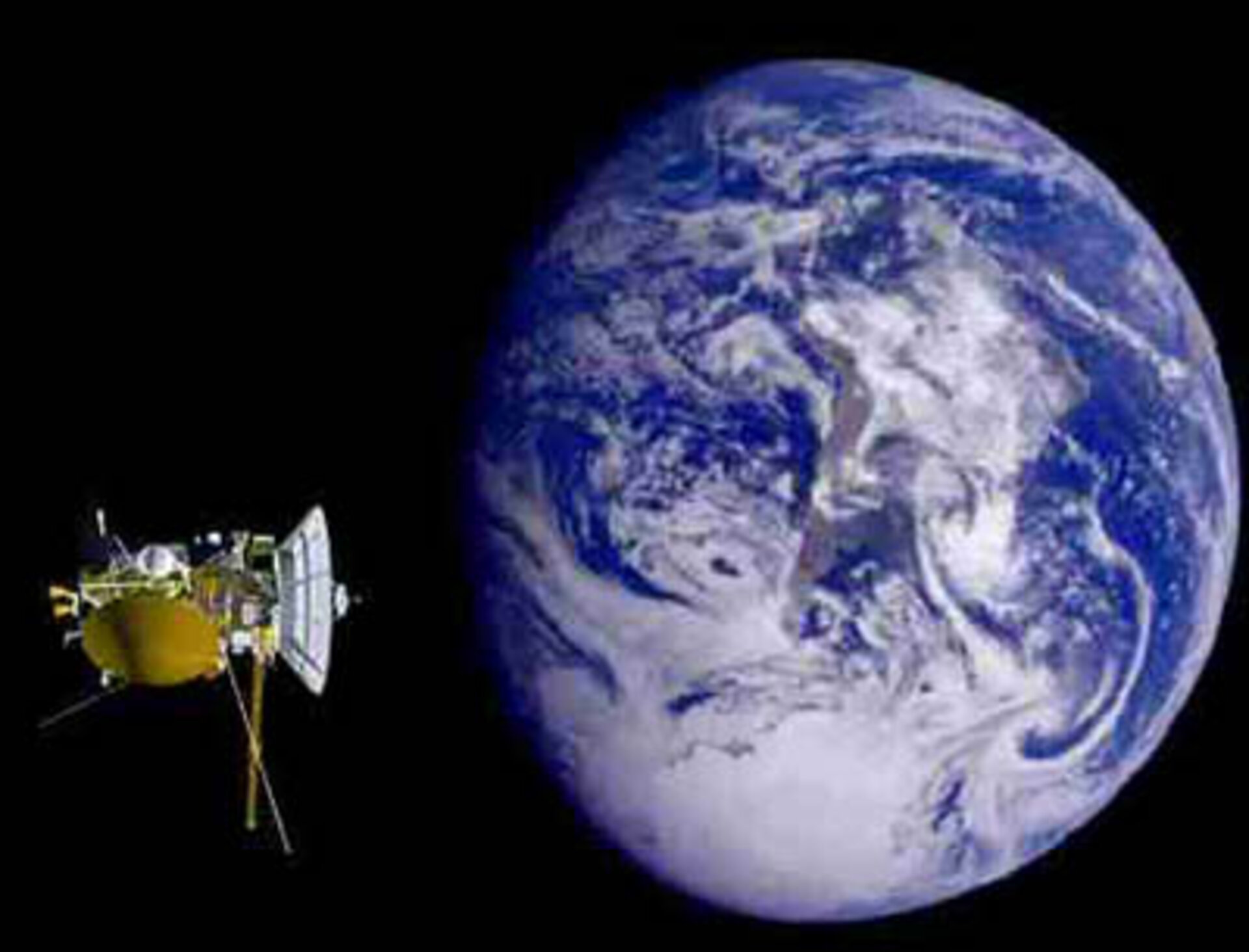 ESA/NASA Cassini-Huygens swings by Earth 1999, slowing unexpectedly