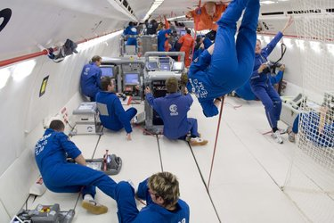 Day 1 of the 49th ESA Parabolic Flight Campaign: A view inside the 'Zero G' cabin during the microgravity phase of a parabola