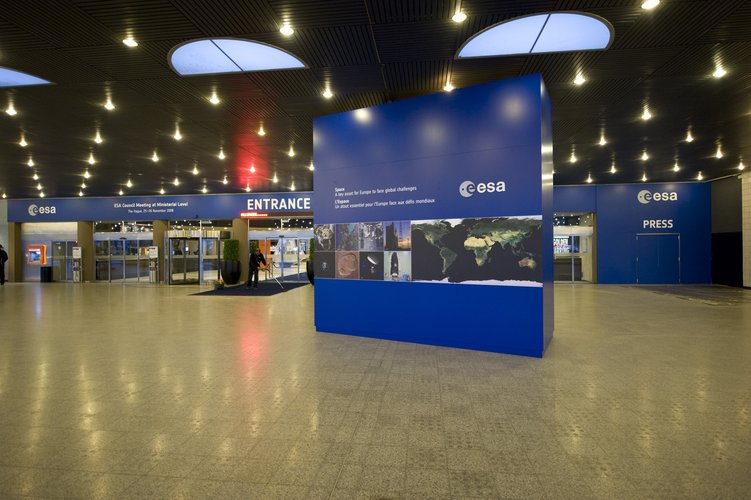 Interior entrance of the World Forum Convention Centre, hosting the ESA Ministerial Council