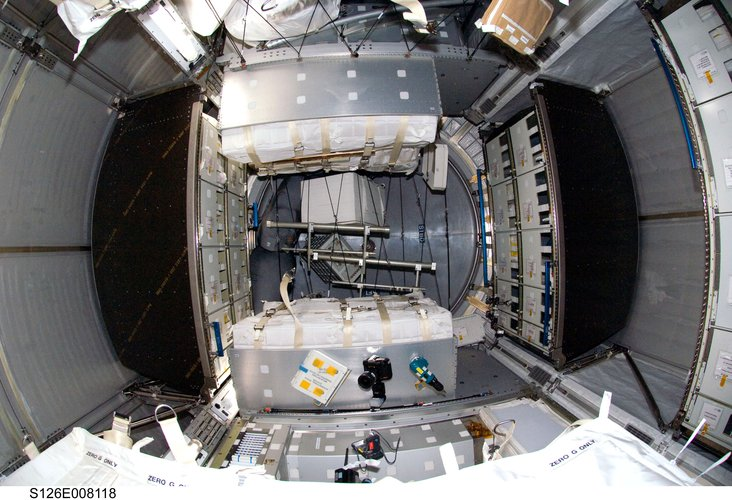Interior view of the Italian-built Leonardo Multi-Purpose Logistics Module attached to the ISS