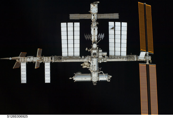 ISS viewed from Space Shuttle Endeavour before docking on 16 November 2008