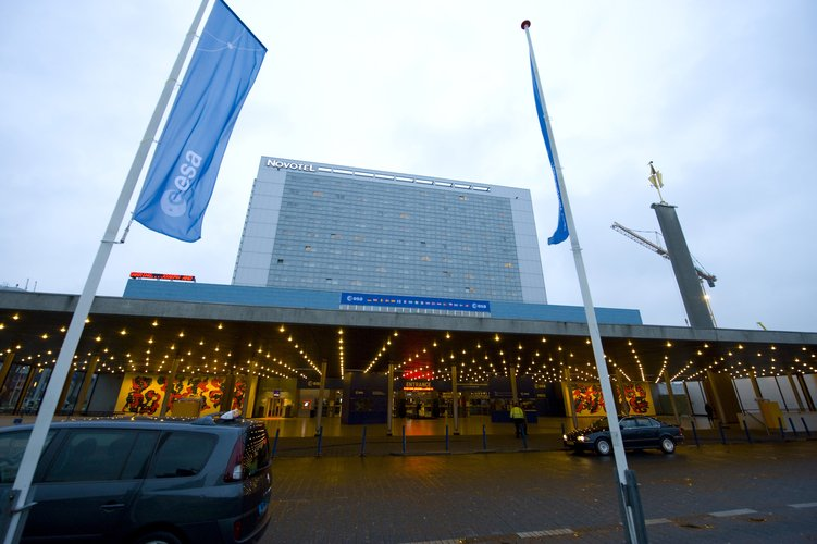 Main entrance of the World Forum Convention Centre, The Hague, hosting the ESA Ministerial Council