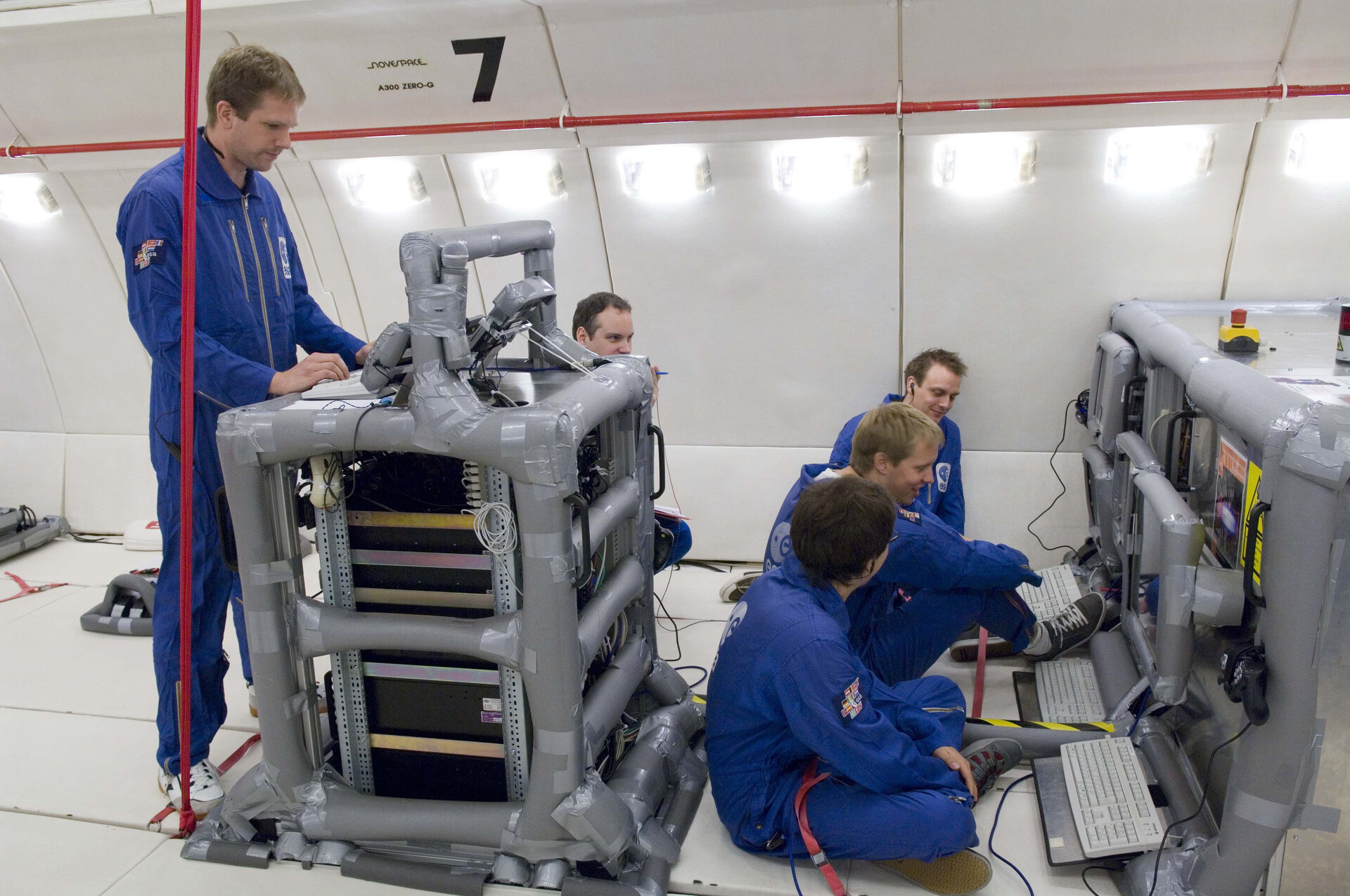 Preparations for flight day 1 of the 49th ESA Parabolic Flight Campaign
