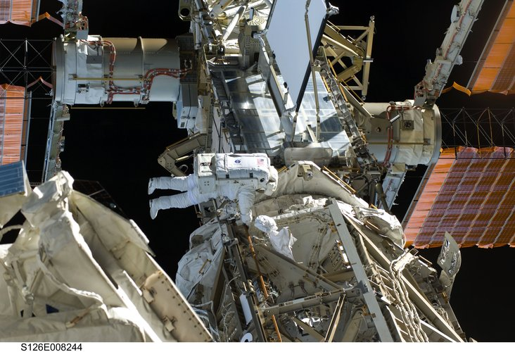 Space Station spacewalk during Shuttle mission STS-126