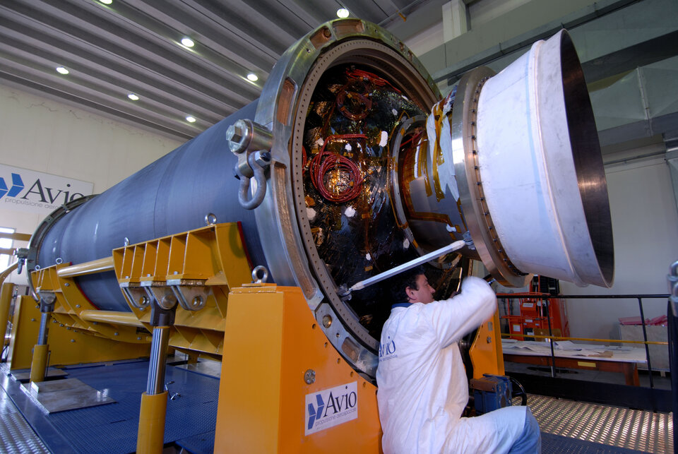 The thrust vector control system of Vega's second stage was developed under GSTP