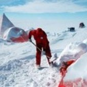 Clearing the camp of dry Antarctic snow