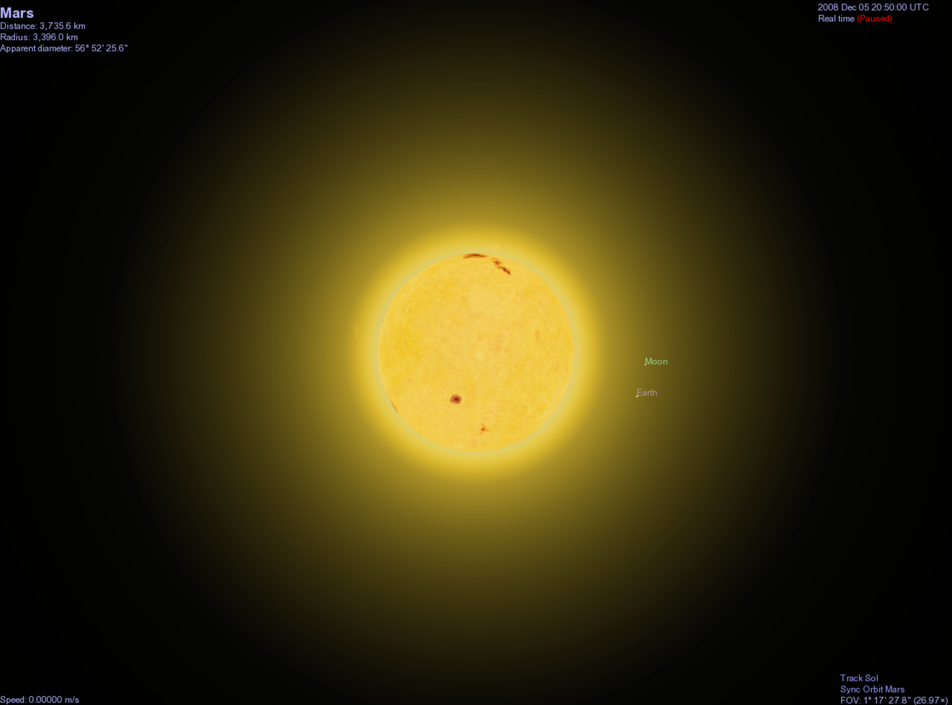 Generated view of Earth/Moon as seen from Mars - looking past the Sun