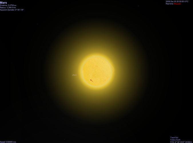 Generated view of Mars as seen from Earth - looking past the Sun