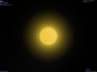 Generated view of Mars as seen from Earth - looking past the Sun (click for larger version)