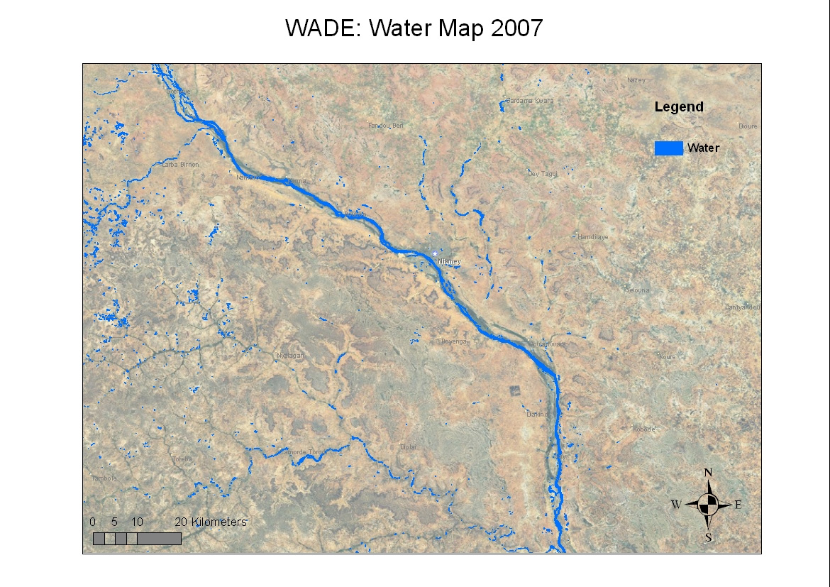 Space in Images - 2008 - 12 - Water body map around the Niger River