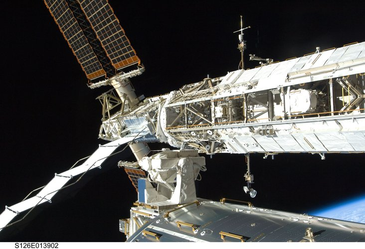 A view of one of the trusses on the International Space Station