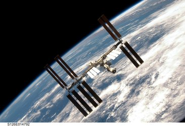 ISS viewed from Endeavour following undocking on 28 November 2008
