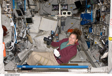 Sandra Magnus at work inside the European Columbus laboratory