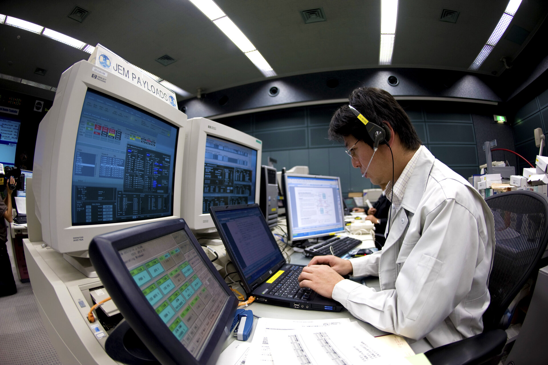 A console inside the Kibo Control Center at Japan's Tsukubu Space Center