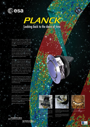 Artist's poster of the Planck satellite