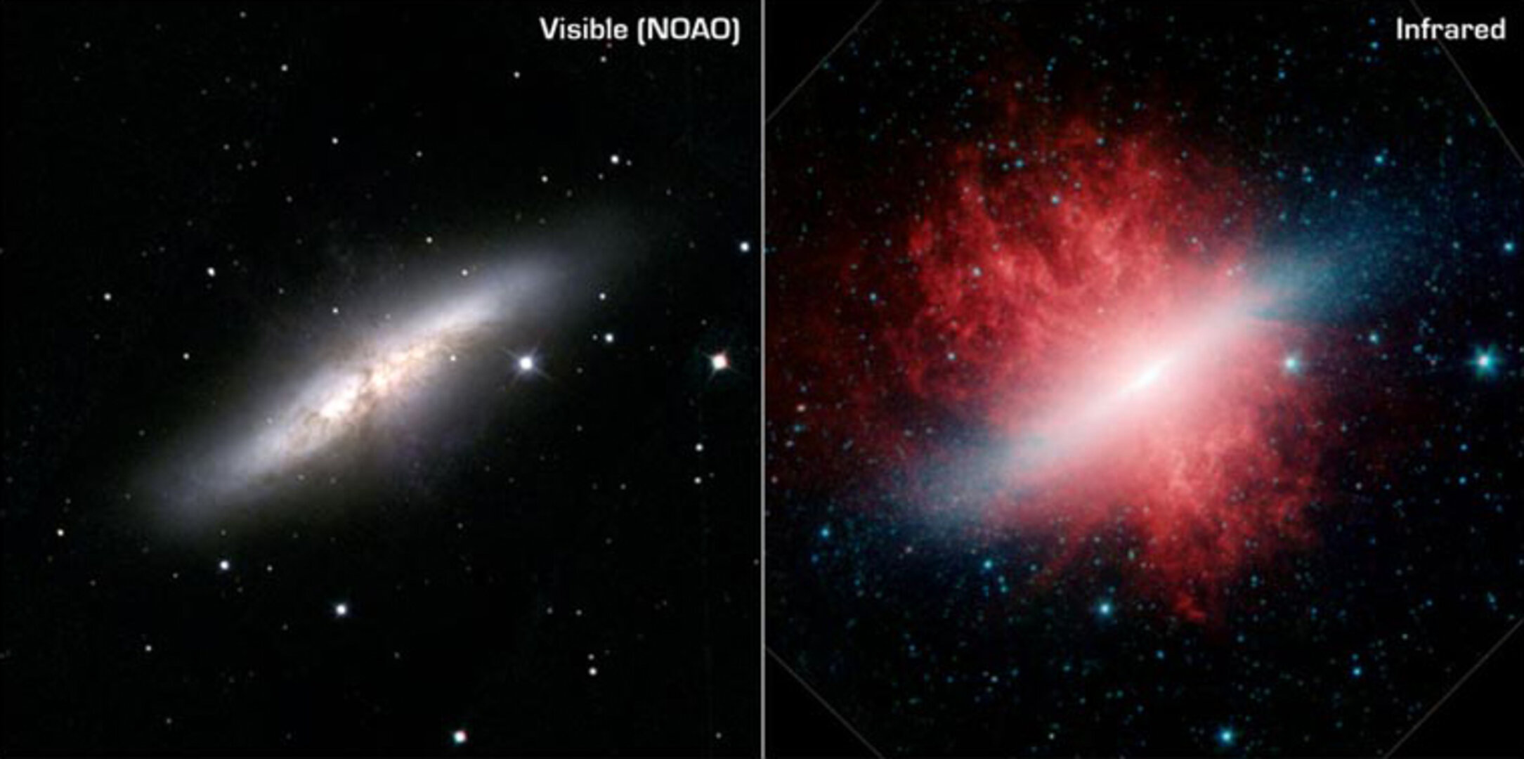 M 82 at optical and infrared wavelengths