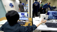Simulation on final day of training at Tsukuba Space Center