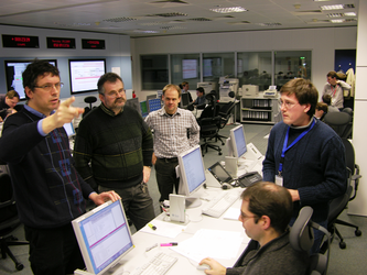 ESA flight dynamics specialists: A tense moment during launch simulation