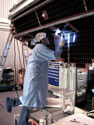 Solar cell inspection on GOCE