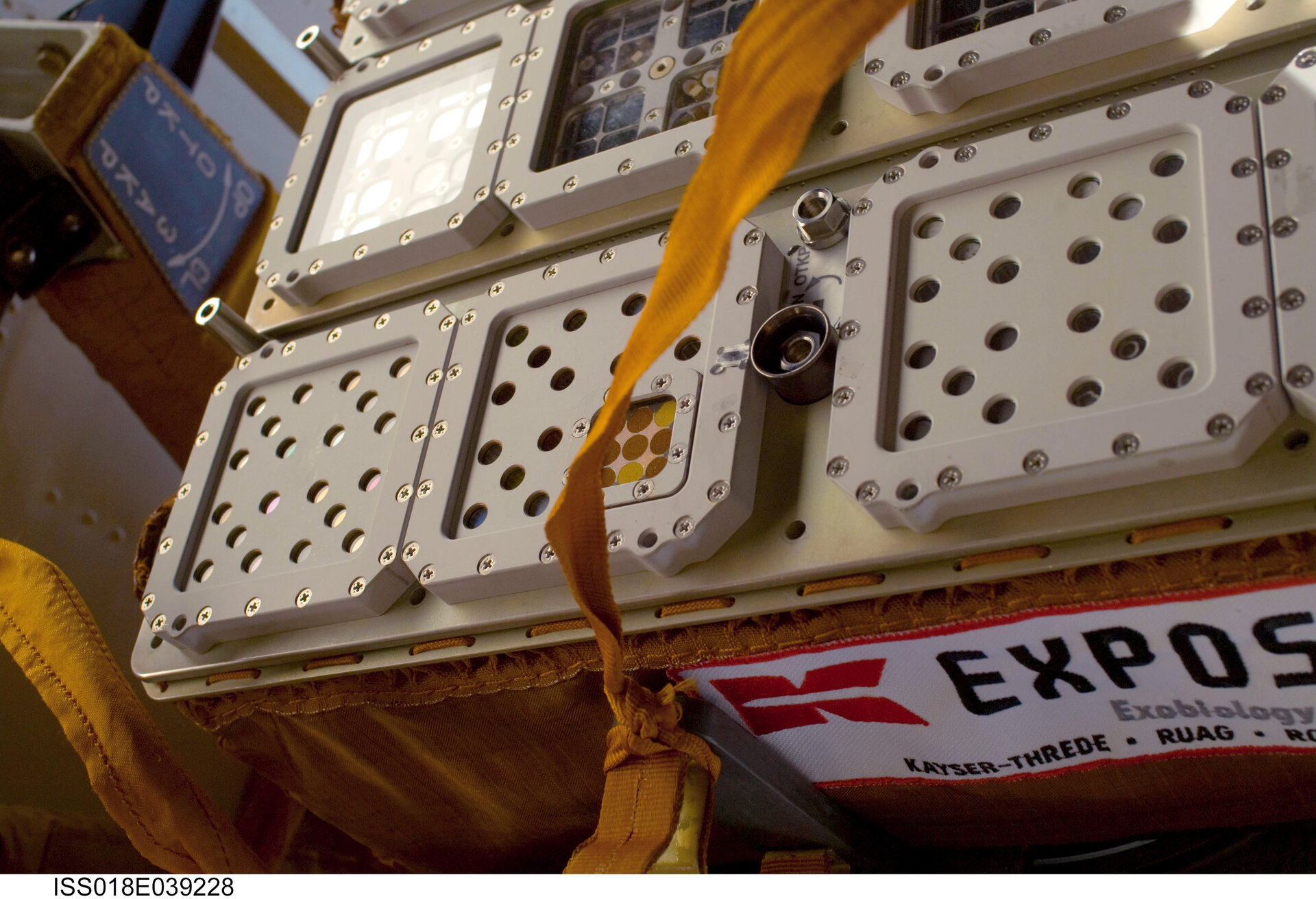 Close-up image of the Expose-R experiment