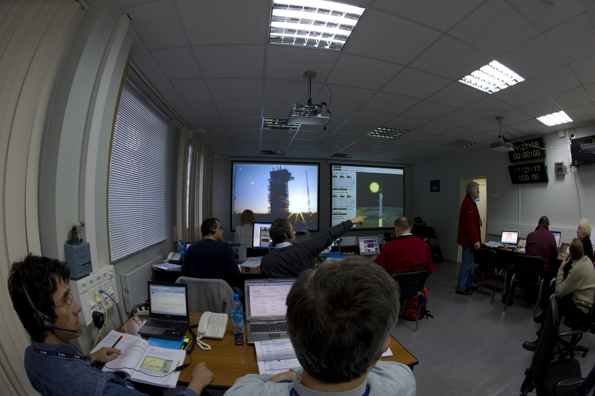 ESA's Plesetsk team at work during GOCE rehearsal countdown