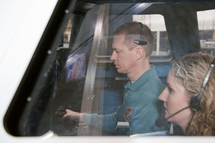 Frank De Winne during a training session in the Cupola mock-up at JSC